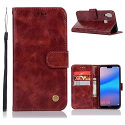 Luxury Retro Leather Wallet Case for Huawei P20 Lite - Wine Red
