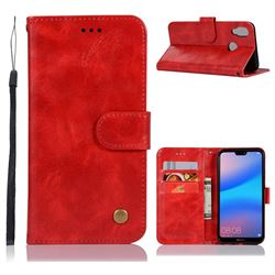 Luxury Retro Leather Wallet Case for Huawei P20 Lite - Red