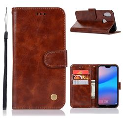 Luxury Retro Leather Wallet Case for Huawei P20 Lite - Brown