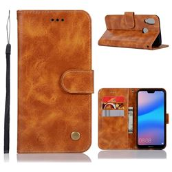 Luxury Retro Leather Wallet Case for Huawei P20 Lite - Golden