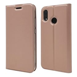 Ultra Slim Card Magnetic Automatic Suction Leather Wallet Case for Huawei P20 Lite - Rose Gold