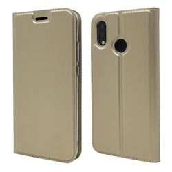 Ultra Slim Card Magnetic Automatic Suction Leather Wallet Case for Huawei P20 Lite - Champagne
