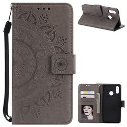 Intricate Embossing Datura Leather Wallet Case for Huawei P20 Lite - Gray