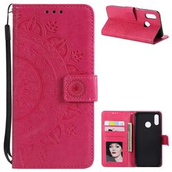 Intricate Embossing Datura Leather Wallet Case for Huawei P20 Lite - Rose Red