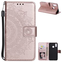 Intricate Embossing Datura Leather Wallet Case for Huawei P20 Lite - Rose Gold