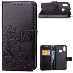 Embossing Imprint Four-Leaf Clover Leather Wallet Case for Huawei P20 Lite - Black
