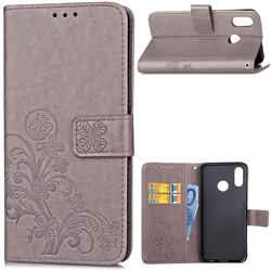 Embossing Imprint Four-Leaf Clover Leather Wallet Case for Huawei P20 Lite - Grey
