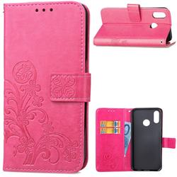 Embossing Imprint Four-Leaf Clover Leather Wallet Case for Huawei P20 Lite - Rose