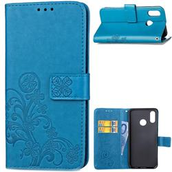 Embossing Imprint Four-Leaf Clover Leather Wallet Case for Huawei P20 Lite - Blue