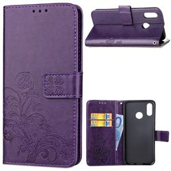 Embossing Imprint Four-Leaf Clover Leather Wallet Case for Huawei P20 Lite - Purple
