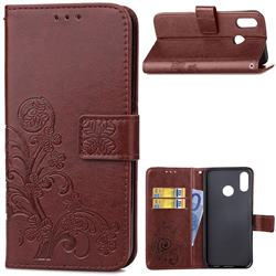 Embossing Imprint Four-Leaf Clover Leather Wallet Case for Huawei P20 Lite - Brown
