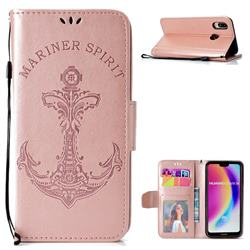 Embossing Mermaid Mariner Spirit Leather Wallet Case for Huawei P20 Lite - Rose Gold