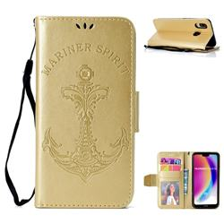 Embossing Mermaid Mariner Spirit Leather Wallet Case for Huawei P20 Lite - Golden