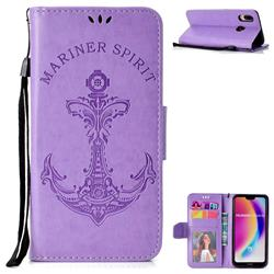 Embossing Mermaid Mariner Spirit Leather Wallet Case for Huawei P20 Lite - Purple