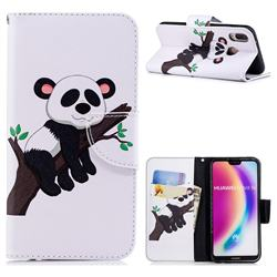 Tree Panda Leather Wallet Case for Huawei P20 Lite