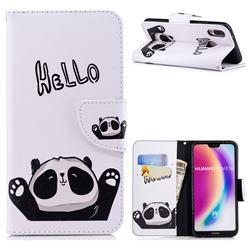 Hello Panda Leather Wallet Case for Huawei P20 Lite