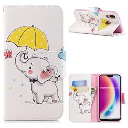 Umbrella Elephant Leather Wallet Case for Huawei P20 Lite