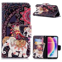 Totem Flower Elephant Leather Wallet Case for Huawei P20 Lite