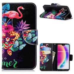 Flowers Flamingos Leather Wallet Case for Huawei P20 Lite