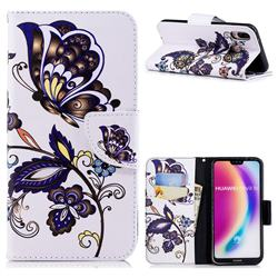 Butterflies and Flowers Leather Wallet Case for Huawei P20 Lite