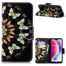 Circle Butterflies Leather Wallet Case for Huawei P20 Lite