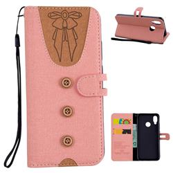 Ladies Bow Clothes Pattern Leather Wallet Phone Case for Huawei P20 Lite - Pink