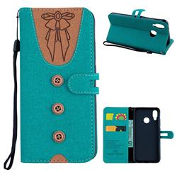 Ladies Bow Clothes Pattern Leather Wallet Phone Case for Huawei P20 Lite - Green