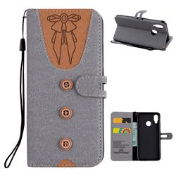 Ladies Bow Clothes Pattern Leather Wallet Phone Case for Huawei P20 Lite - Gray