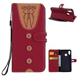 Ladies Bow Clothes Pattern Leather Wallet Phone Case for Huawei P20 Lite - Red