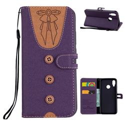 Ladies Bow Clothes Pattern Leather Wallet Phone Case for Huawei P20 Lite - Purple