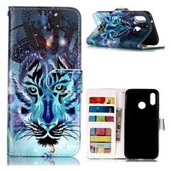 Ice Wolf 3D Relief Oil PU Leather Wallet Case for Huawei P20 Lite
