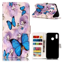 Purple Flowers Butterfly 3D Relief Oil PU Leather Wallet Case for Huawei P20 Lite