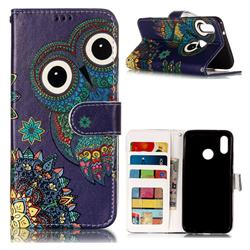 Folk Owl 3D Relief Oil PU Leather Wallet Case for Huawei P20 Lite