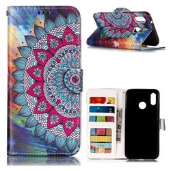 Mandala Flower 3D Relief Oil PU Leather Wallet Case for Huawei P20 Lite