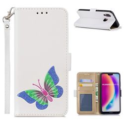 Imprint Embossing Butterfly Leather Wallet Case for Huawei P20 Lite - White