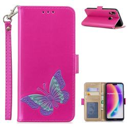 Imprint Embossing Butterfly Leather Wallet Case for Huawei P20 Lite - Rose Red