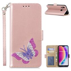 Imprint Embossing Butterfly Leather Wallet Case for Huawei P20 Lite - Rose Gold