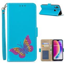 Imprint Embossing Butterfly Leather Wallet Case for Huawei P20 Lite - Sky Blue
