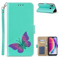 Imprint Embossing Butterfly Leather Wallet Case for Huawei P20 Lite - Mint Green