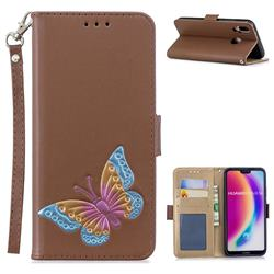 Imprint Embossing Butterfly Leather Wallet Case for Huawei P20 Lite - Brown