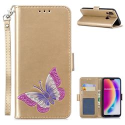 Imprint Embossing Butterfly Leather Wallet Case for Huawei P20 Lite - Golden