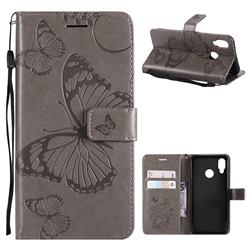 Embossing 3D Butterfly Leather Wallet Case for Huawei P20 Lite - Gray