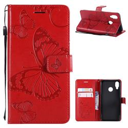 Embossing 3D Butterfly Leather Wallet Case for Huawei P20 Lite - Red