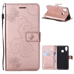 Embossing 3D Butterfly Leather Wallet Case for Huawei P20 Lite - Rose Gold