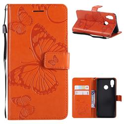 Embossing 3D Butterfly Leather Wallet Case for Huawei P20 Lite - Orange