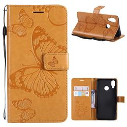 Embossing 3D Butterfly Leather Wallet Case for Huawei P20 Lite - Yellow