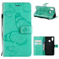 Embossing 3D Butterfly Leather Wallet Case for Huawei P20 Lite - Green