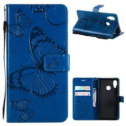 Embossing 3D Butterfly Leather Wallet Case for Huawei P20 Lite - Blue