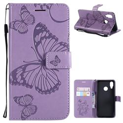 Embossing 3D Butterfly Leather Wallet Case for Huawei P20 Lite - Purple