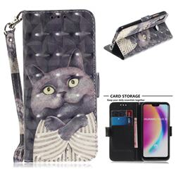 Cat Embrace 3D Painted Leather Wallet Phone Case for Huawei P20 Lite
